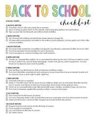 Checklist for Going Back to Schools
